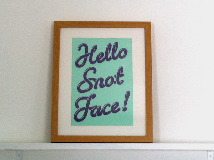 Hello Snot Face poster
